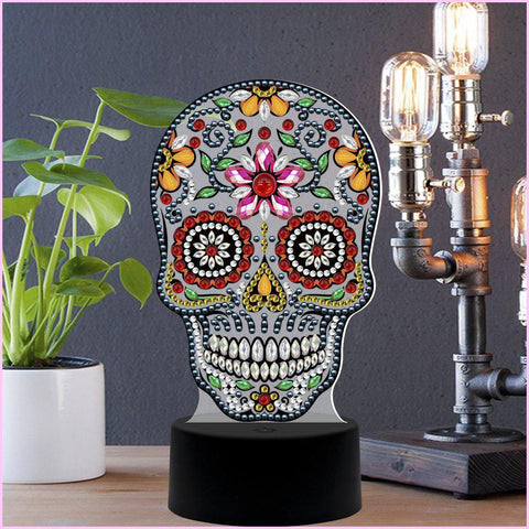 Image of Sugar Skull 3D Night Lamp-3D Night Lamp-Heartful Diamonds