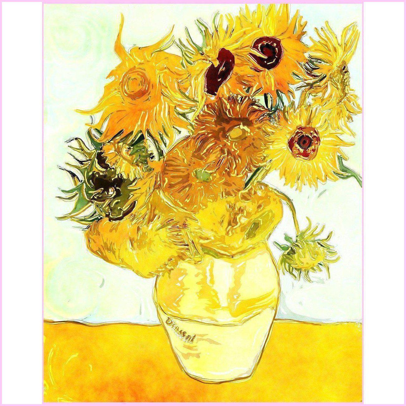 Sunflowers by Van Gogh-Diamond Painting Kit-30x40cm (12x16 in)-Square-Heartful Diamonds