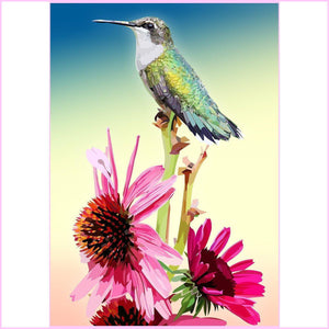 Tall Hummingbird-Diamond Painting Kit USPS-30x40cm (12x16 in)-Square-Heartful Diamonds
