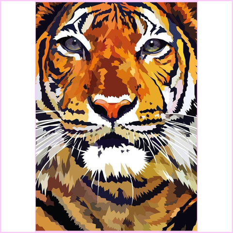 Tiger Closeup-Diamond Painting Kit USPS-30x40cm (12x16 in)-Square-Heartful Diamonds