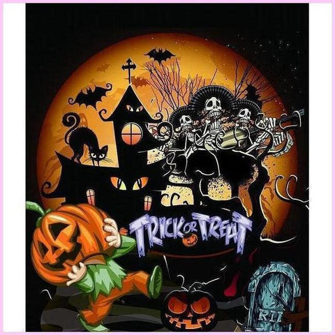 Image of Trick or Treat-Diamond Painting Kit-20x20cm (8x8 in)-Square-Heartful Diamonds
