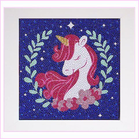 Image of Kids Framed Diamond Painting - Glamorous Unicorn