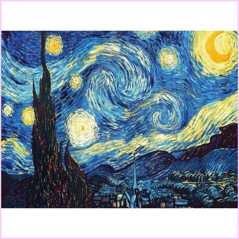 Image of Van Gogh's Starry Night-Diamond Painting Kit USPS-30x45cm (12x18 in)-Square-Heartful Diamonds