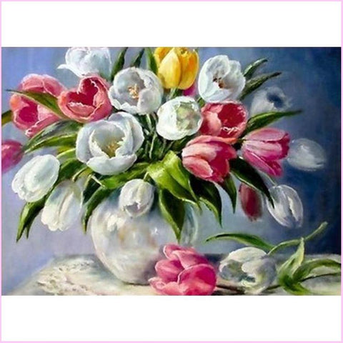 Image of Vase of Tulips - Starter Edition-Starter Kit-Vase of Tulips-20x30cm (8x12 in)-Heartful Diamonds