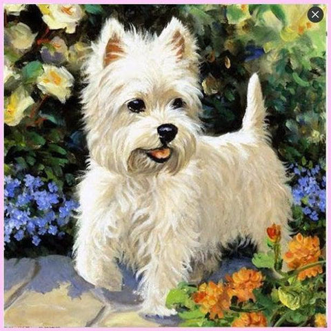 Very Cute West Highland Terrier-Diamond Painting Kit-30x30cm (12x12 in)-Square-Heartful Diamonds