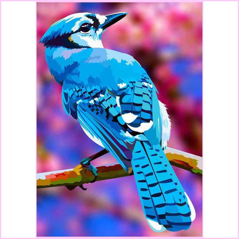 Image of Vibrant Blue Jay-Diamond Painting Kit USPS-35x50cm (14x20 in)-Square-Heartful Diamonds