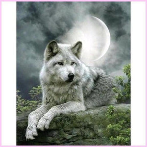 Vigilant White Wolf in Moonlight-Diamond Painting Kit-30x40cm (12x16 in)-Square-Heartful Diamonds