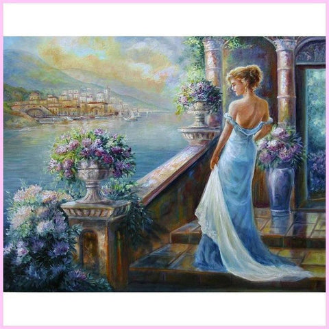 Image of Waiting for Lover's Return-Diamond Painting Kit USPS-30x40cm (12x16 in)-Square-Heartful Diamonds