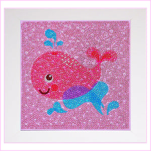 Kids Framed Diamond Painting - Happy Pink Whale