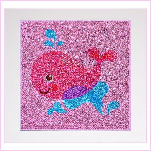 Image of Kids Framed Diamond Painting - Happy Pink Whale