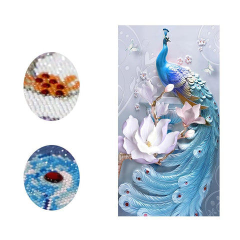 Image of White Lotus Peacock (Special)-Special Diamond Painting Kit-Heartful Diamonds