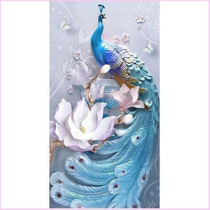 White Lotus Peacock (Special)-Special Diamond Painting Kit-50x90cm (20x35 in)-Heartful Diamonds