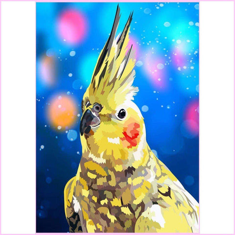 Yellow Cockatiel-Diamond Painting Kit USPS-35x50cm (14x20 in)-Square-Heartful Diamonds