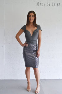 Midi Sequin Skirt Convertible Dress - Made by Erika Convertible Collection