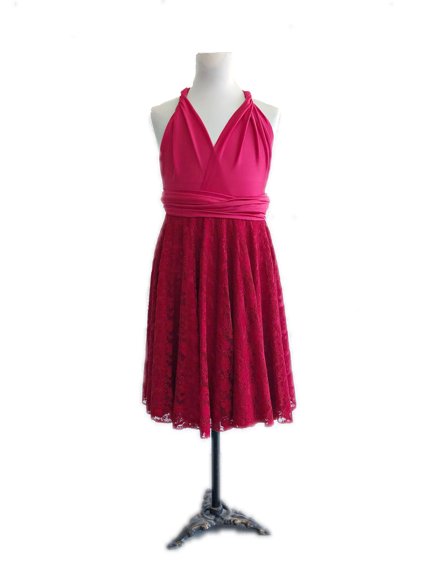 Junior Lace Skirt Cocktail Convertible Dress
