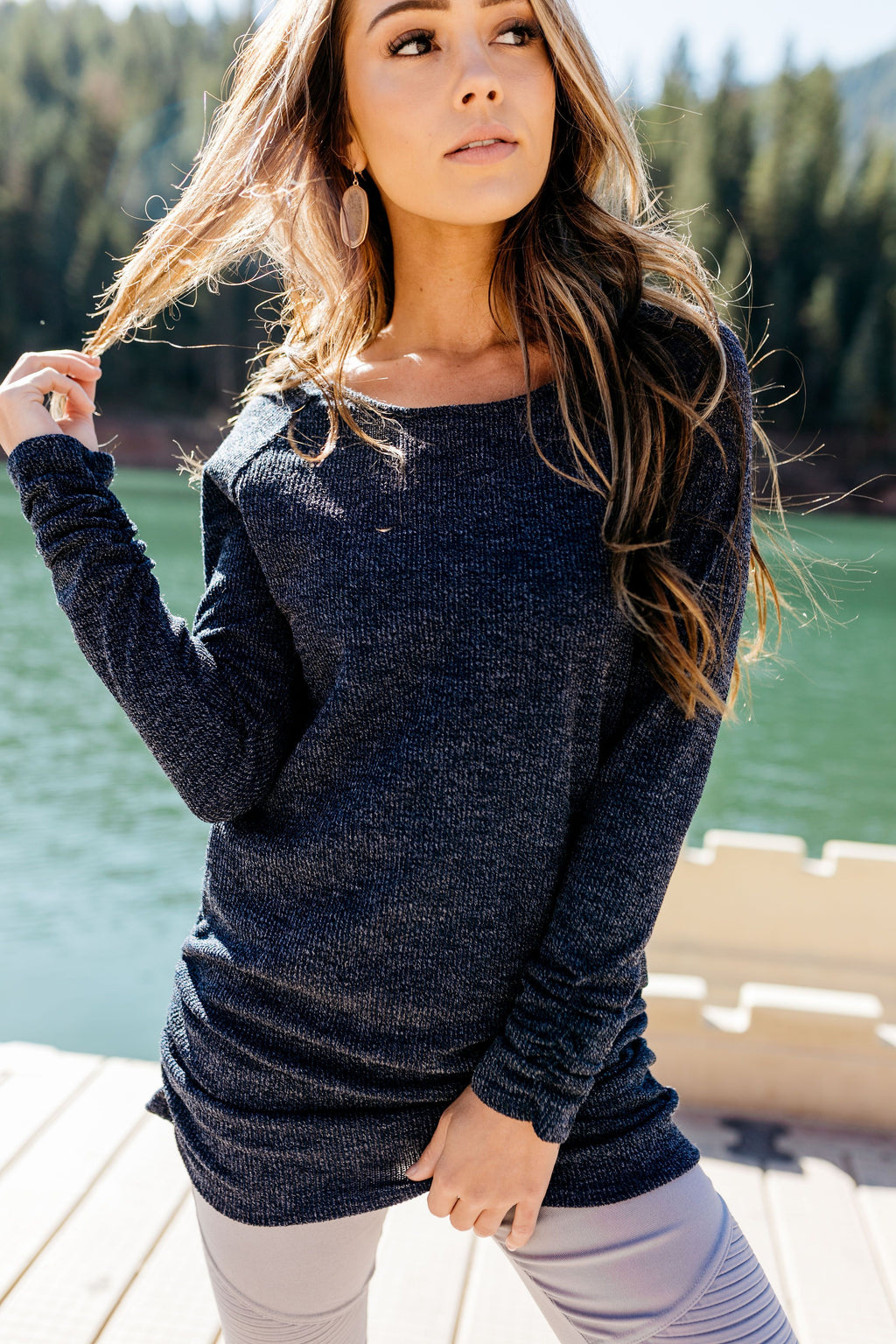 Ribbed And Ruched Navy Tunic