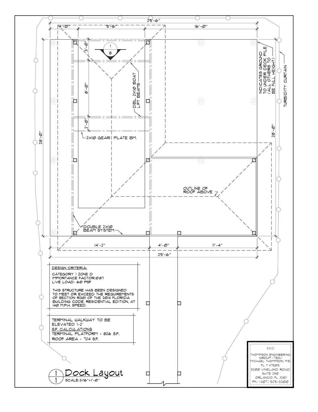 BL 16' Wide Activity Dock Plan