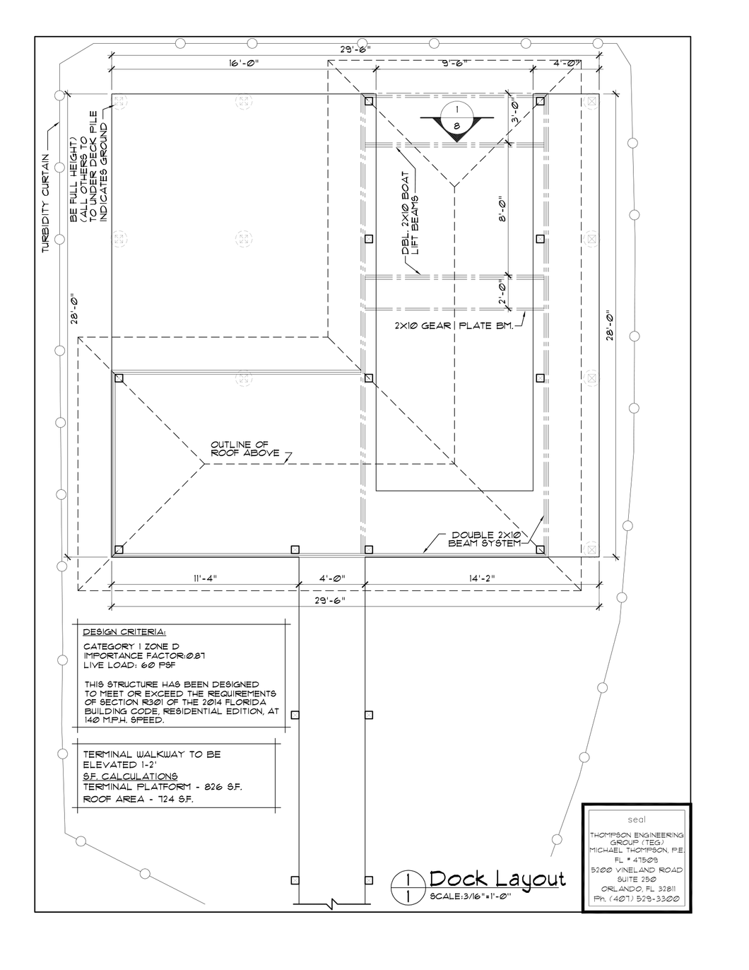 BR 16' Wide Activity (Reversed) Dock Plan