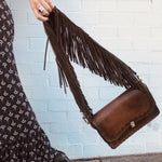 Tiggy Fergie - Shoulder Bag Vintage Brown Deconstructed w/Tassels