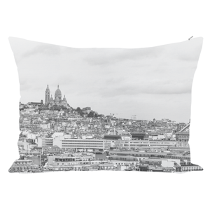 Pillow cushion cover with image of Paris in Black and white
