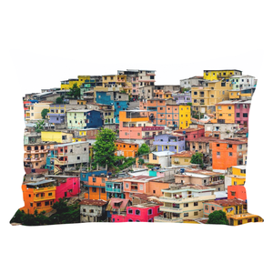Colorful buildings photo printed on a pillow