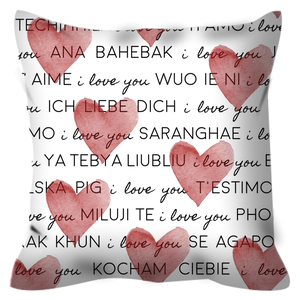 Red Hearts and I Love you Translated in Many Languages Pillow