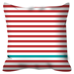 square pillow red stripes turquoise stripe