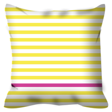 square cushion with yellow and pink stripes