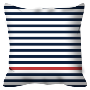 Square Pillow with Navy Stripes and one Red stripe