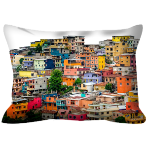 Pillow with Colorful Photograph of Ecuador Houses