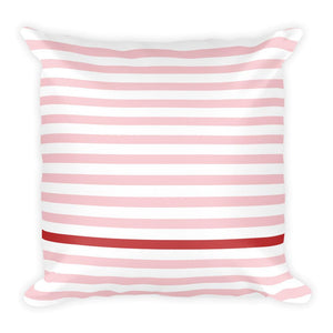 Pillow with Pink Stripes and one Cherry Red Stripe