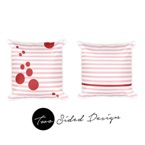 Summer Pop & Stripes (Blush + Cherry) | 20x20 Outdoor Pillow