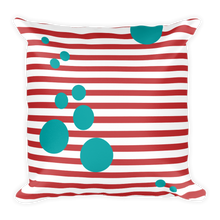 square pillow red stripes turquoise circles