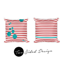 two sided design pillow red stripes turquoise circles