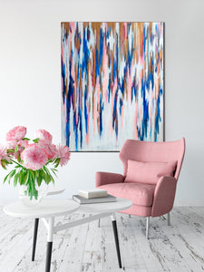 Acrylic Painting on Wall in Room with Pink Chair and Flowers