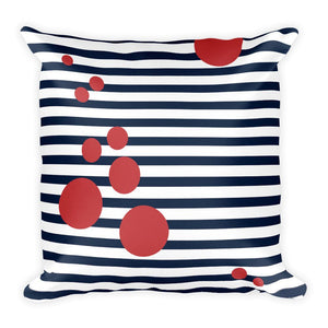 Square Outdoor Pillow with Blue stripes and Red spots