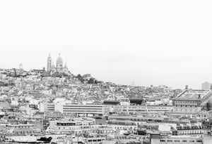 Sacre Coeur Over Paris in Montmartre Black and White