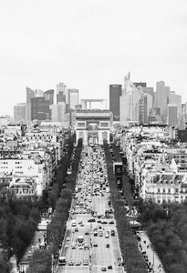 Paris Avenue Champs-Elysee in Black and White
