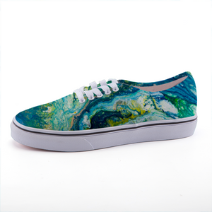 Blue Green White Yellow Abstract Art on Canvas sneaker
