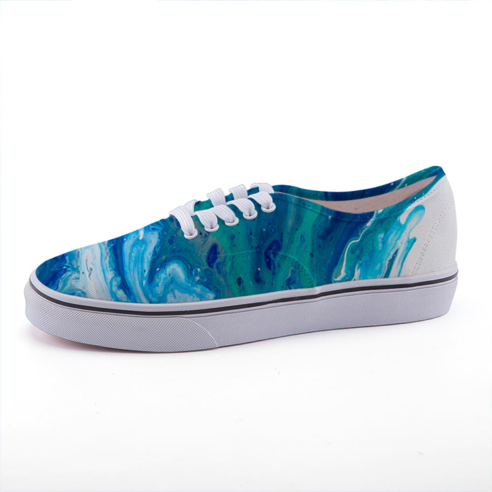 Blue and Green Abstract Art Canvas Sneaker