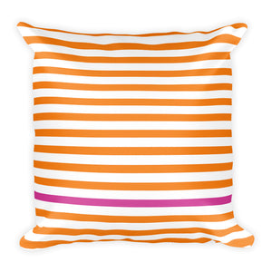 Summer Stripes | Tangerine + Pink | 18x18 Square Pillow