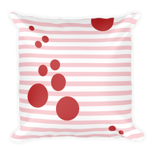 Summer Pillow with Pink Stripes and Red Dots