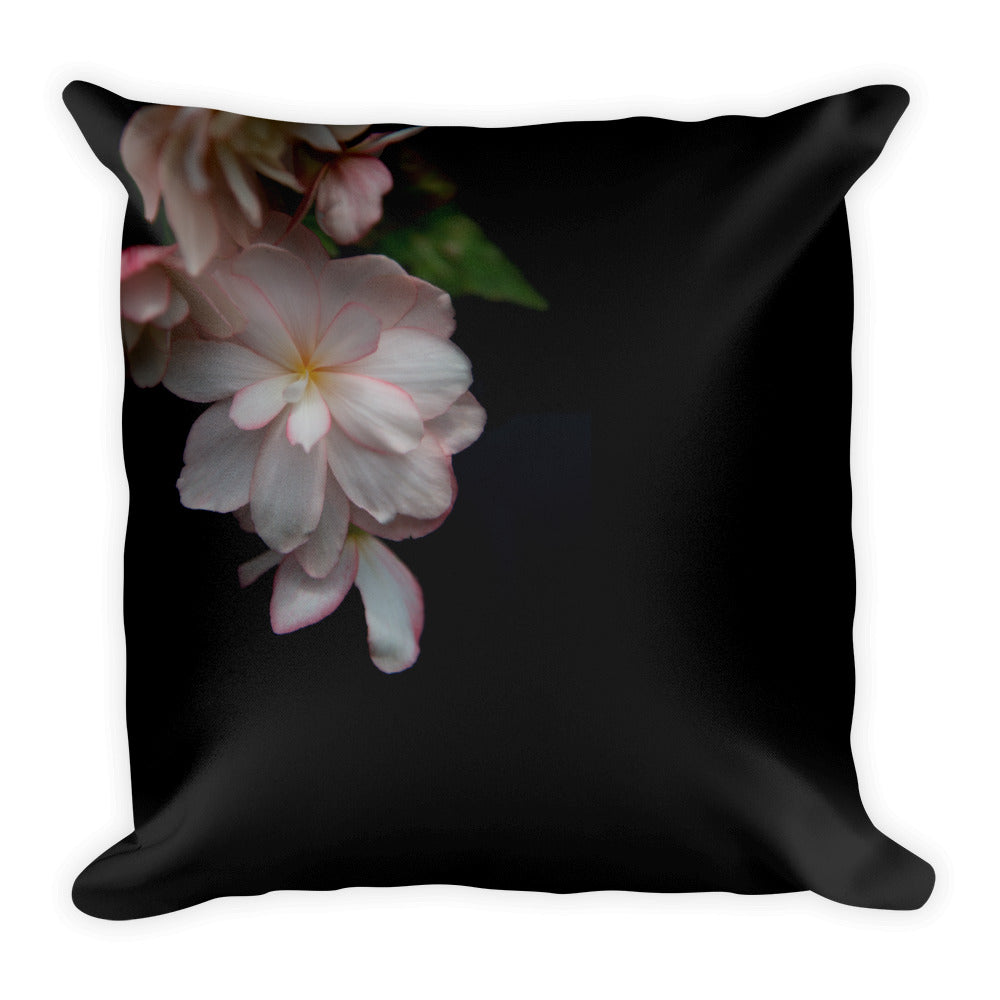 Peach Begonia on Black | 18x18 Square Decorative Pillow