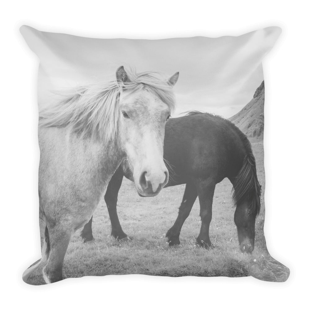 Icelandic Horses No. 1 | 18x18 Square Pillow