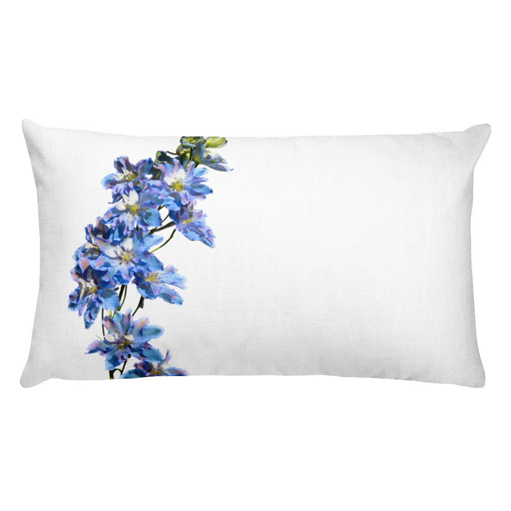 Tie-Dyed Blue BellaDonna Delphinium | Rectangular 20x12 Decorative Pillow