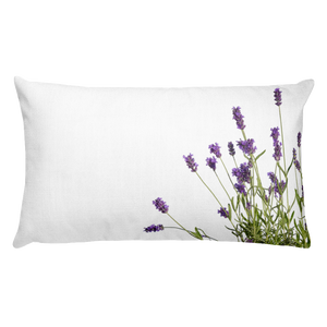 Wild Purple Lavender Flowers | 20x12 Rectangular Pillow with Insert