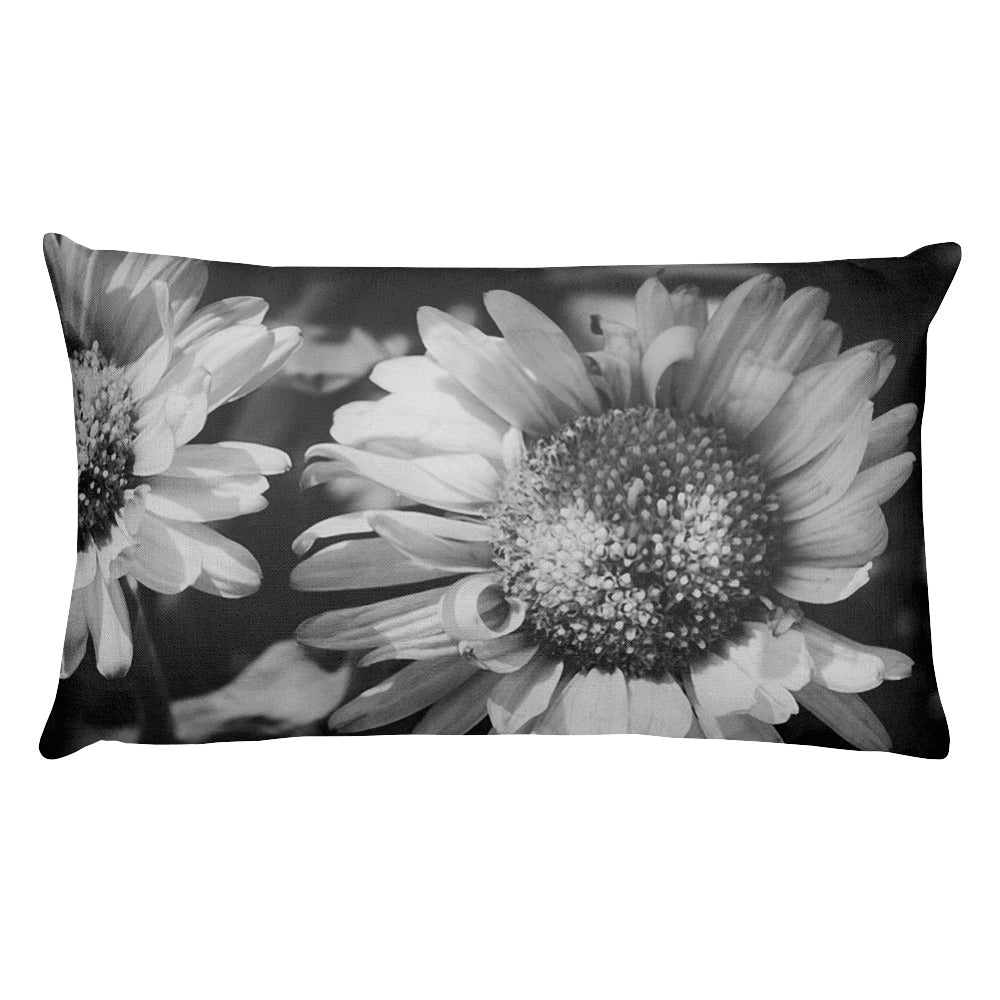 Sunflowers in Black and White | 20x12 Rectangular Pillow