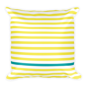 Summer Stripes (Lemonade + Turquoise) Square Pillow