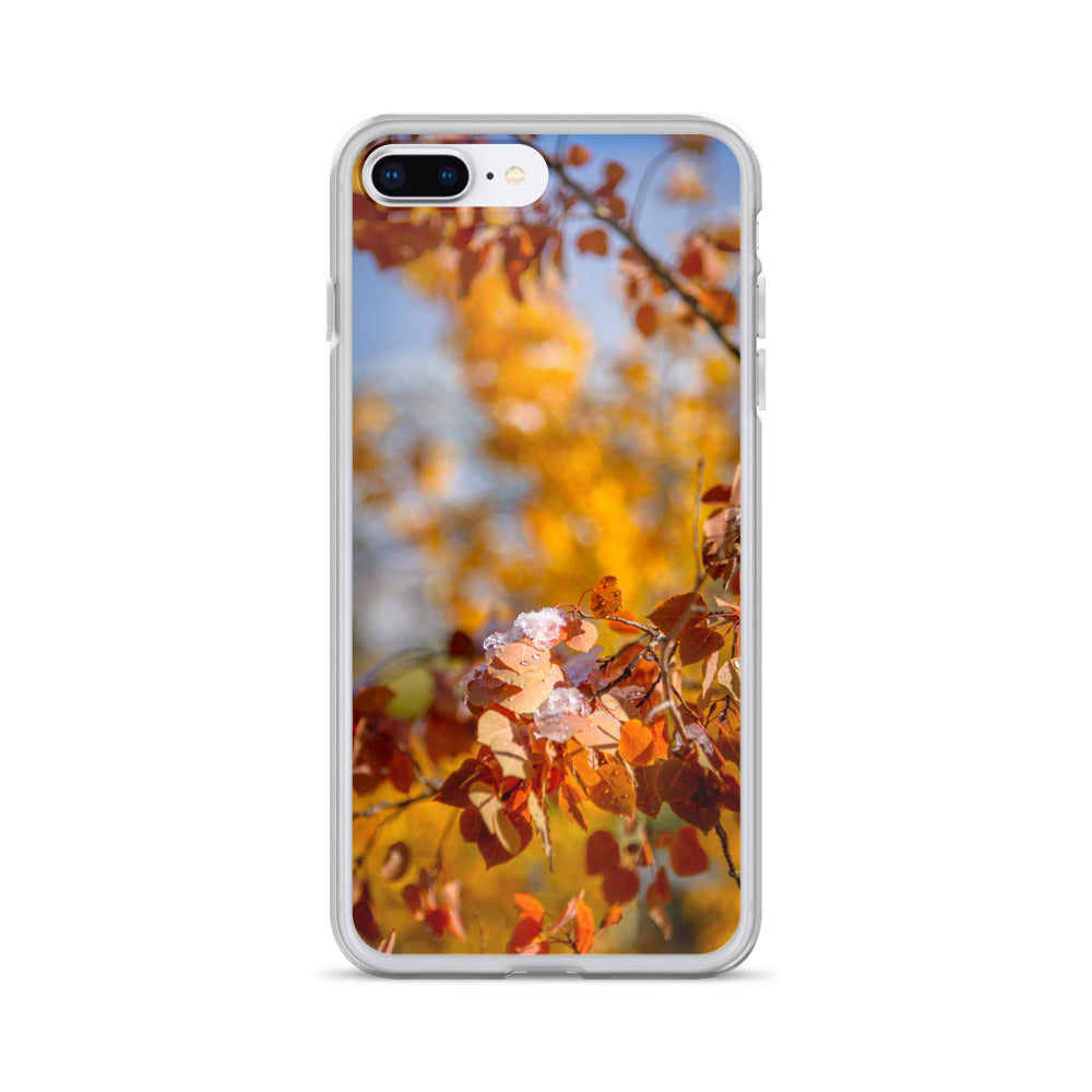 Golden Aspen Leaves with Snow | iPhone Case (All Sizes)