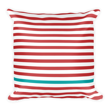 Summer Stripes (Cherry + Turquoise) | 18x18 Square Pillow